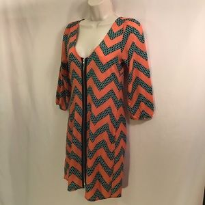Chevron V-Neck Zipper Front Tunic Dress